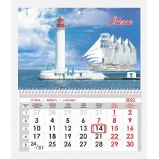 Односекционный календарь Воронцовский маяк и парусник 07